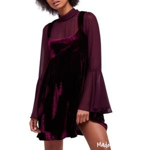 NWT Free People Counting Stars Velvet Mini Dress